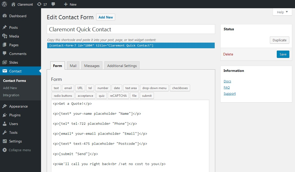 Claremont Create Contact Form