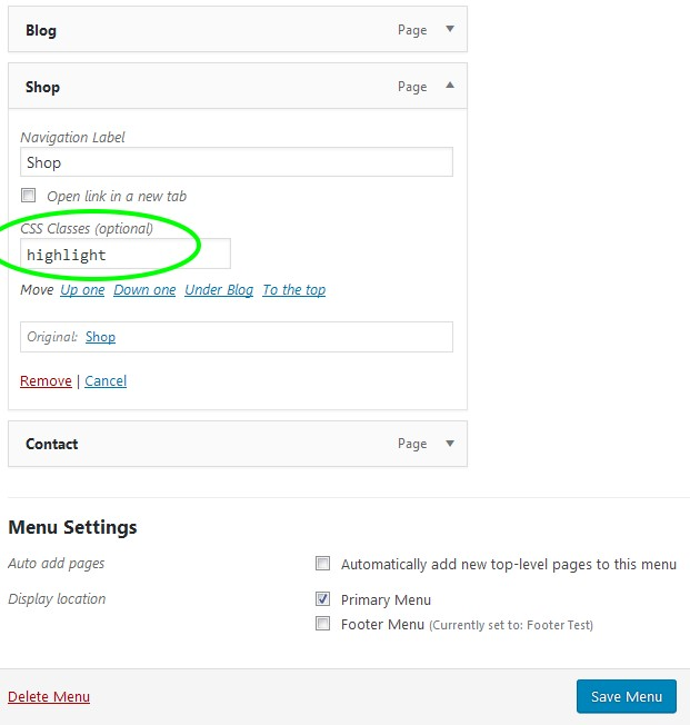 Adding a menu item CSS class