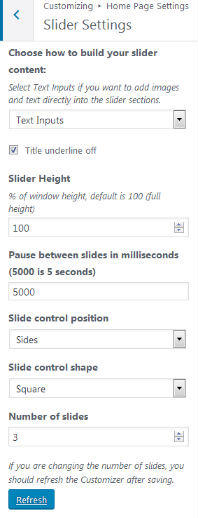 Slider Settings