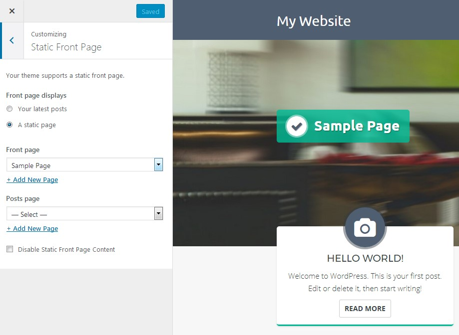 Static front page settings in the WordPress customizer