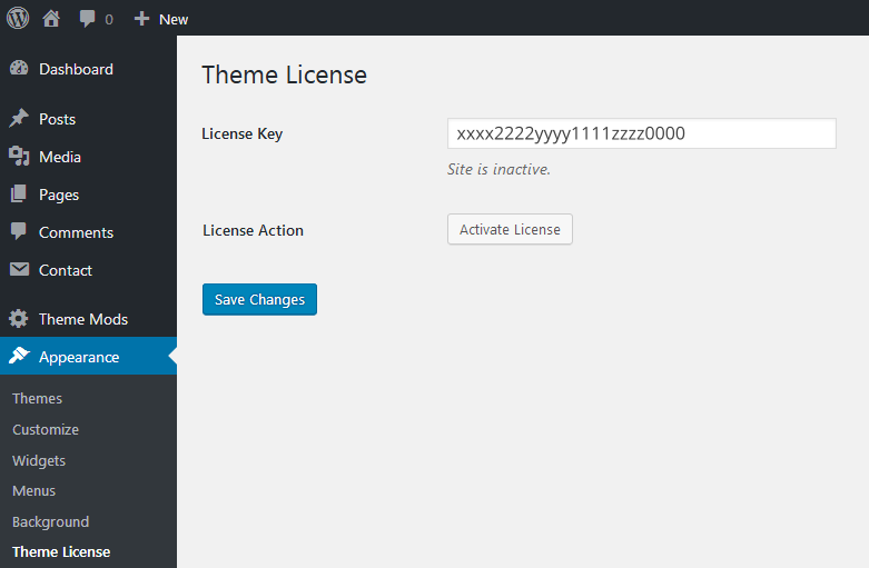 A screenshot showing the theme license option, with the Activate License button.