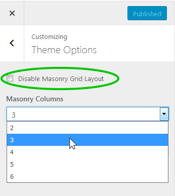 A screenshot showing the location of the masonry layout options for the Latest theme in the WordPress customizer