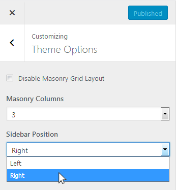 A screenshot showing how to set the sidebar position to either left or right in the Latest WordPress theme