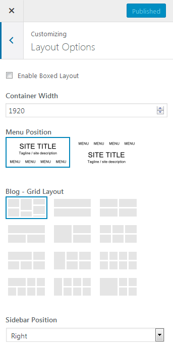 Screenshot showing the layout options in the customizer