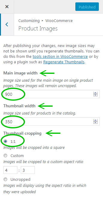 Screenshot showing the WooCommerce Product Images settings in the customizer