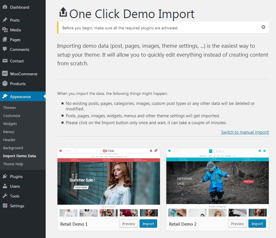 Retail theme one click demo import
