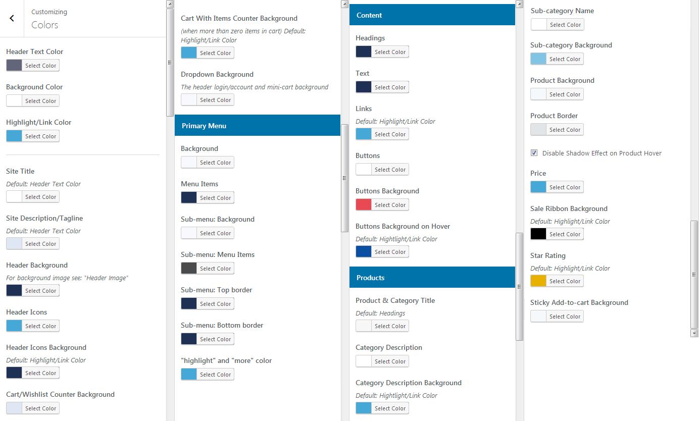Retail Pro color selectors
