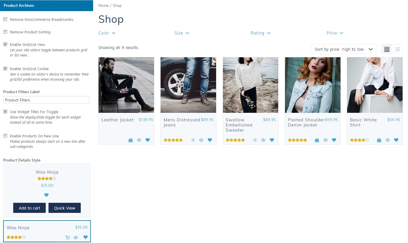The product archive options of the Retail Pro theme