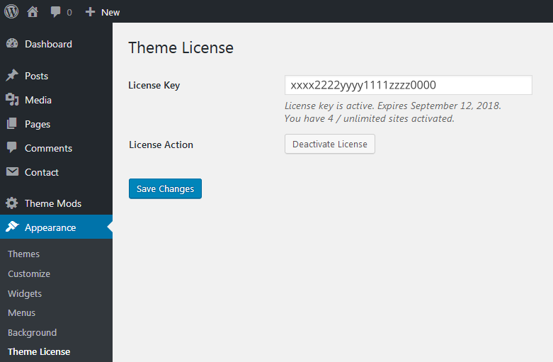 A screenshot showing that the theme license has been activated, and how many of the permitted number of websites have been activated with this license key.
