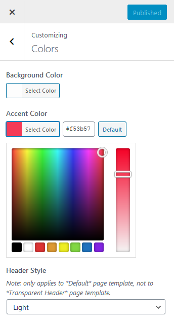Adjusting colors in the theme customizer
