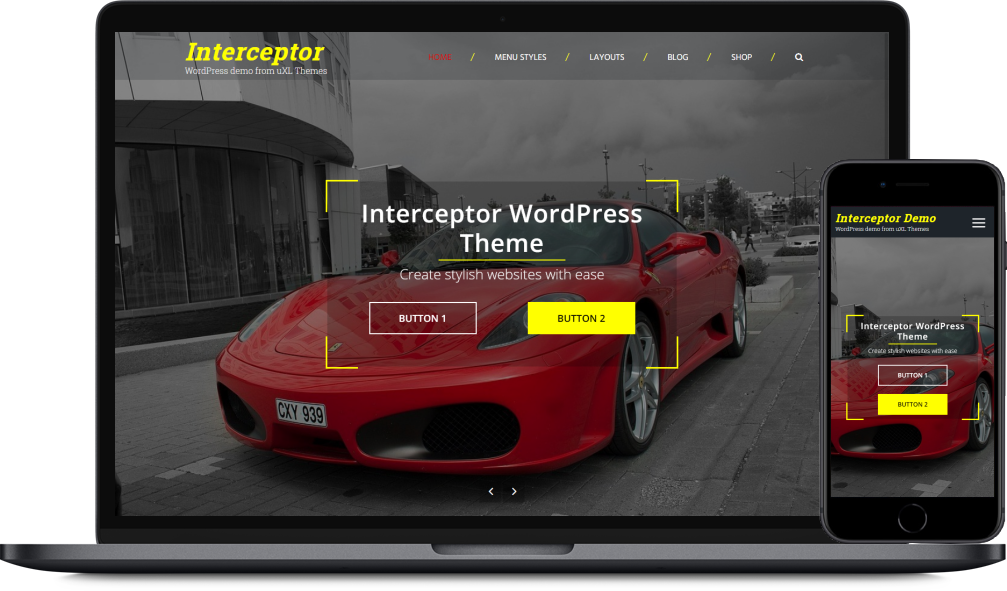 The Interceptor theme as seen on a laptop and a mobile