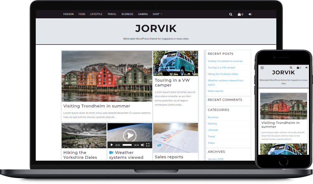 Mobile phone and laptop screenshots of the Jorvik theme