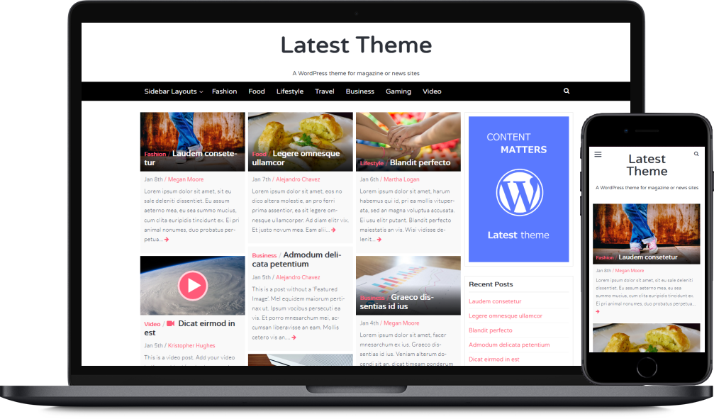 The Latest WordPress theme as it looks on a laptop and mobile device