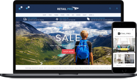 A screenshot image showing how the Retail Pro theme looks on a laptop and a mobile phone