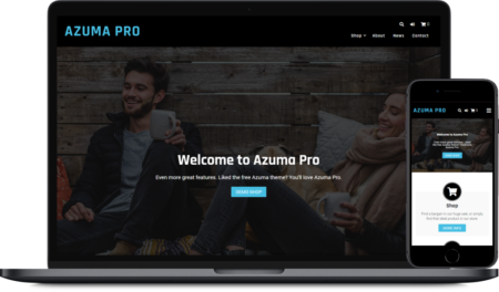 A screenshot image to show the Azuma Pro WordPress theme on a mobile and laptop