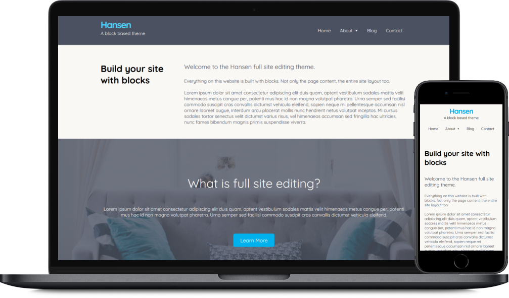 Hansen full site editing WordPress theme