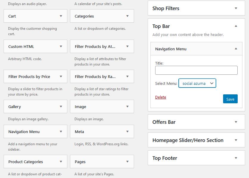 Adding a navigation menu widget to the top bar