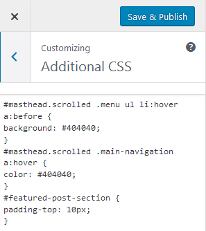paste css into Additional CSS